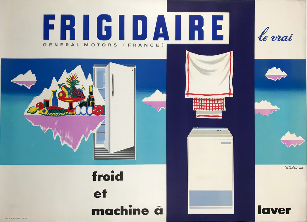 Frigidaire Le Vrais Froid et Machine a Laver Original French 1965 General Motors Poster by Bernard Villemot