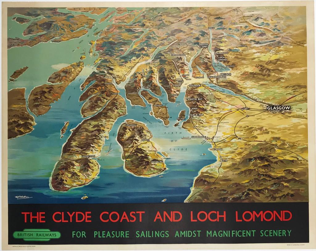 The Clyde Coast and Loch Lomond British Railways Original 1955 Vintage Travel Poster by W. C. Nicholson Linen Backed