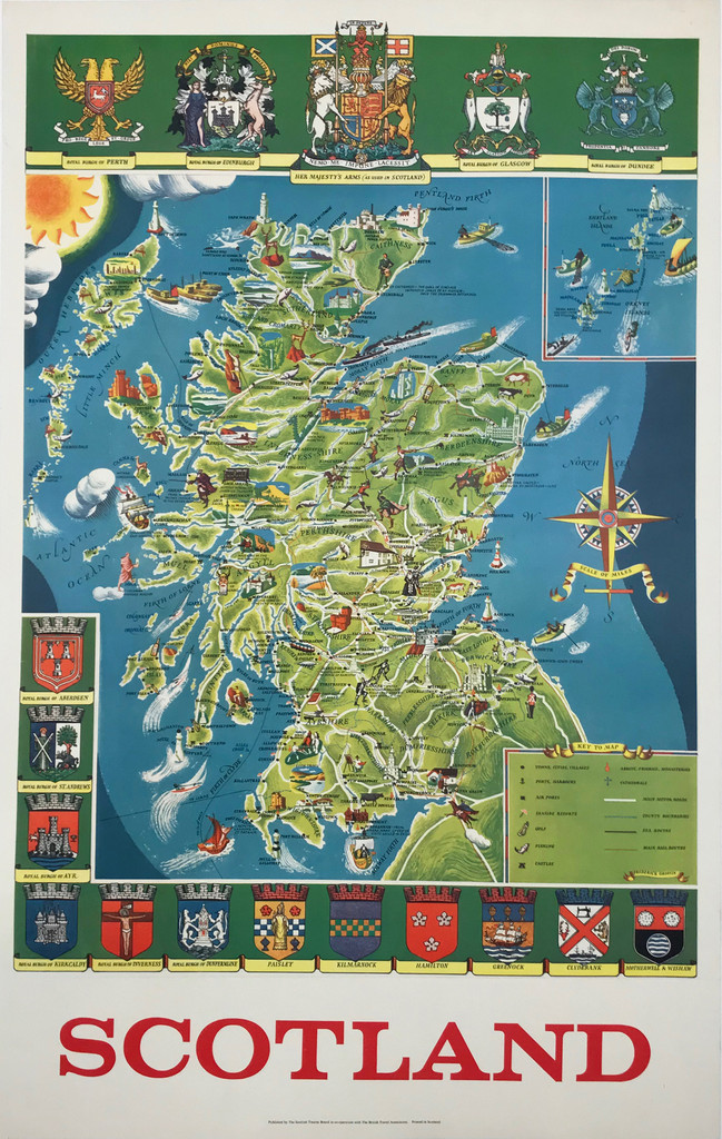 Scotland Illustrated Travel Map Original Vintage 1950's Poster by  Frederick Griffin