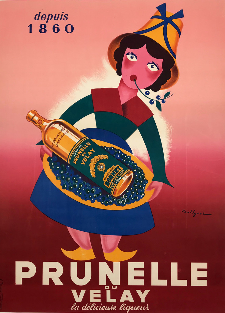 Prunelle du Velay Original Poster by Igerz from 1950 France. French wine and spirits poster features a cartoon woman in a colorful dress chewing a twig and holding a tray with a bottle against a gradated red background.