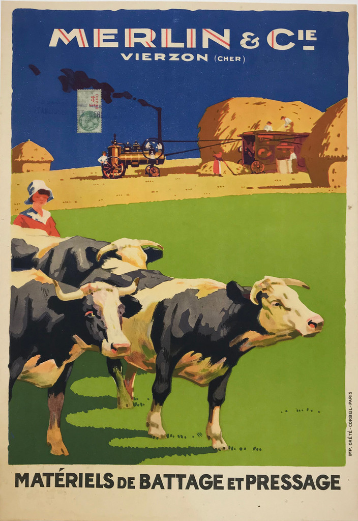 Merlin Cie Materiels De Battage Et Pressage Original 1920 French Vintage Poster Linen Backed