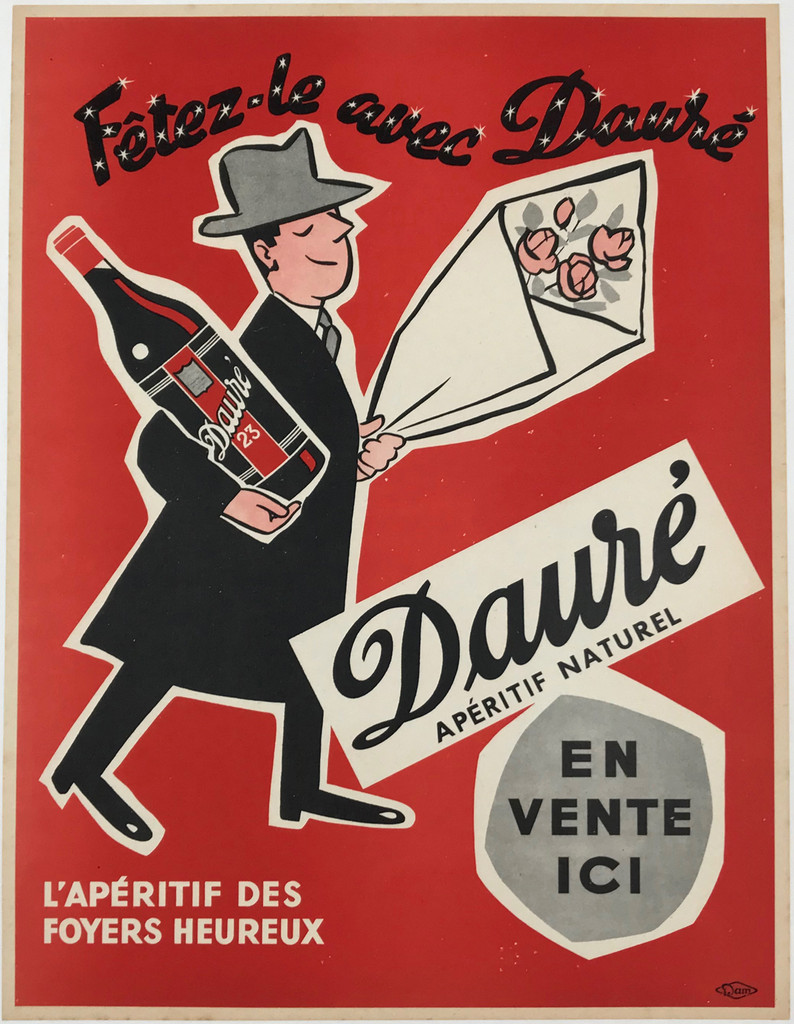 Daure Aperitif Naturel Original 1953 French Vintage Plate Lithograph Advertisement Poster by DAM Linen Backed