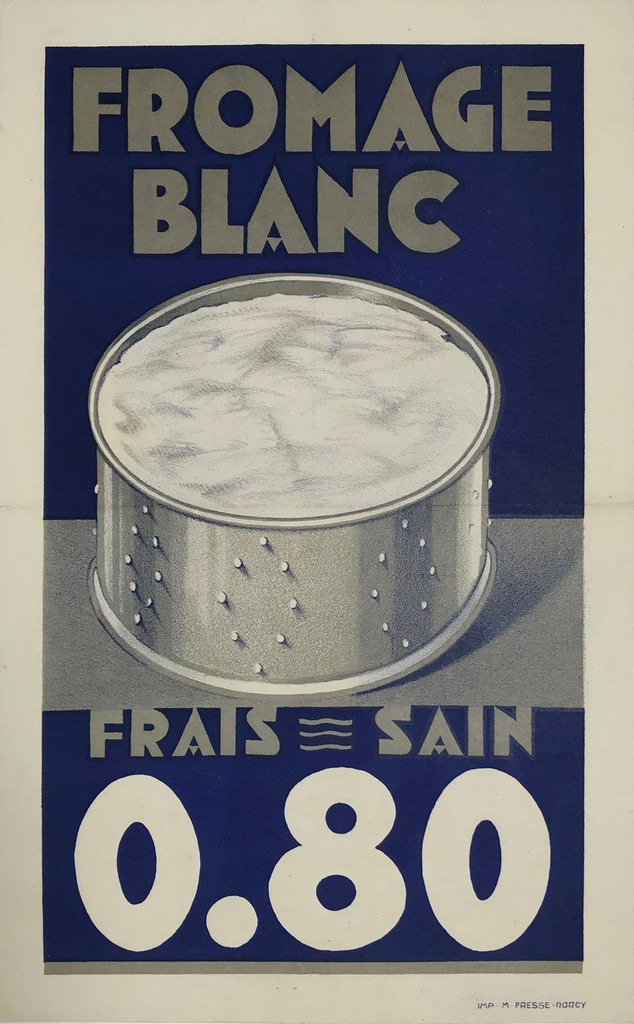 Fromage Blanc Frais Sain Original 1935 French Vintage Stone Lithograph Cheese Advertisement Poster Linen Backed