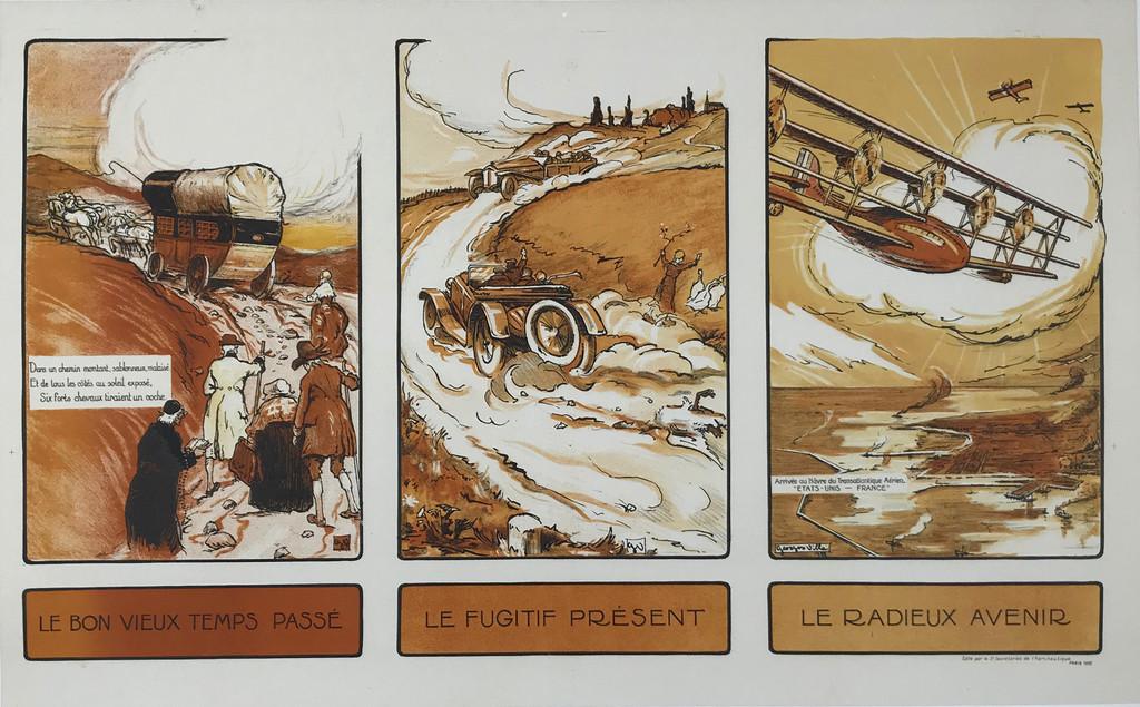 Le Bon Vieux Temps Passé - Le Fugitif Présent - Le Radieux Avenir  Original 1922 Vintage Poster by Georges Villa Linen Backed