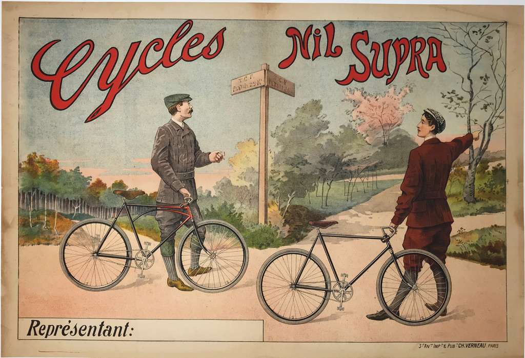 Cycles Nil Supra Original 1899 French Antique Stone Lithograph Advertisement Poster Linen Backed