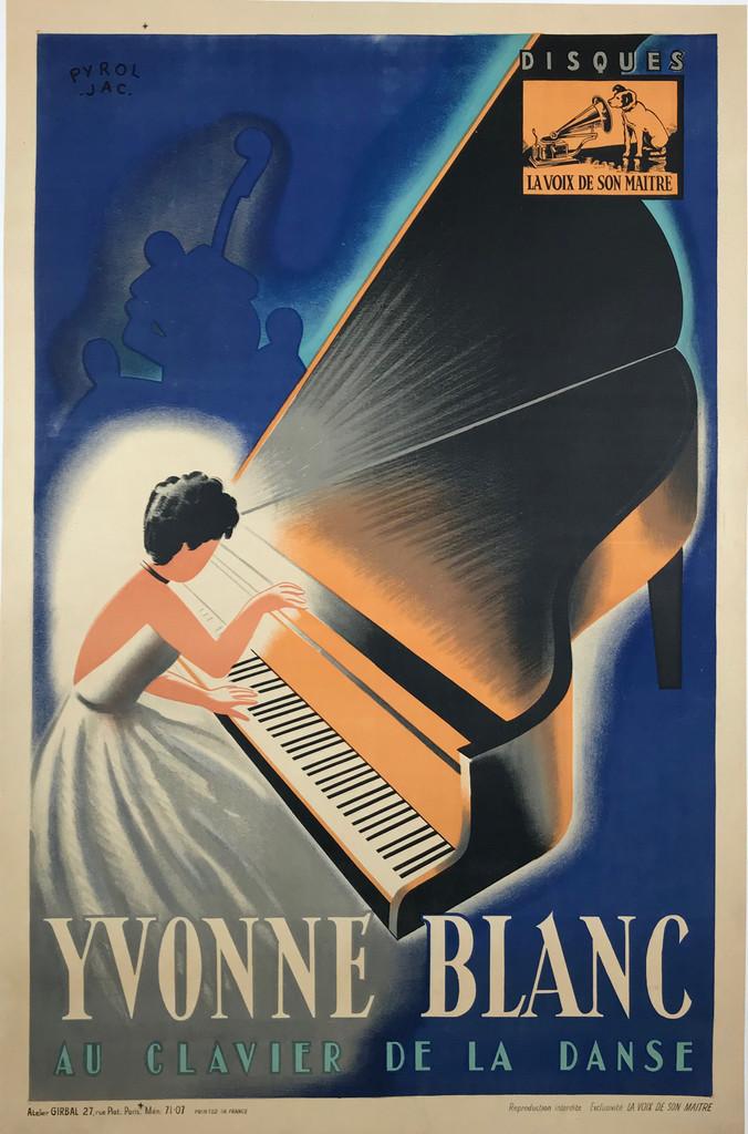 "Yvonne Blanc ""Au Clavier De La Danse"" Original 1952 French Vintage Poster by Jac Pyrol Linen Backed"