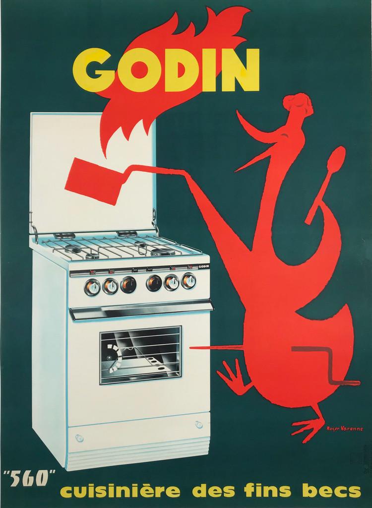 Godin 560 Cuisiniere des Fines Becs Original 1960 French Vintage Poster by Roger Varenne Linen Backed