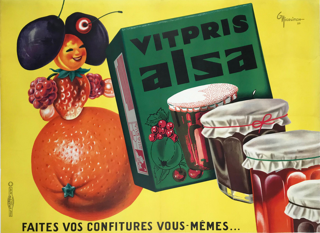 Vitpris Alsa Faites Vos Confitures Original Vintage 1956 French Pectin Poster by Nicolitch Linen Backed