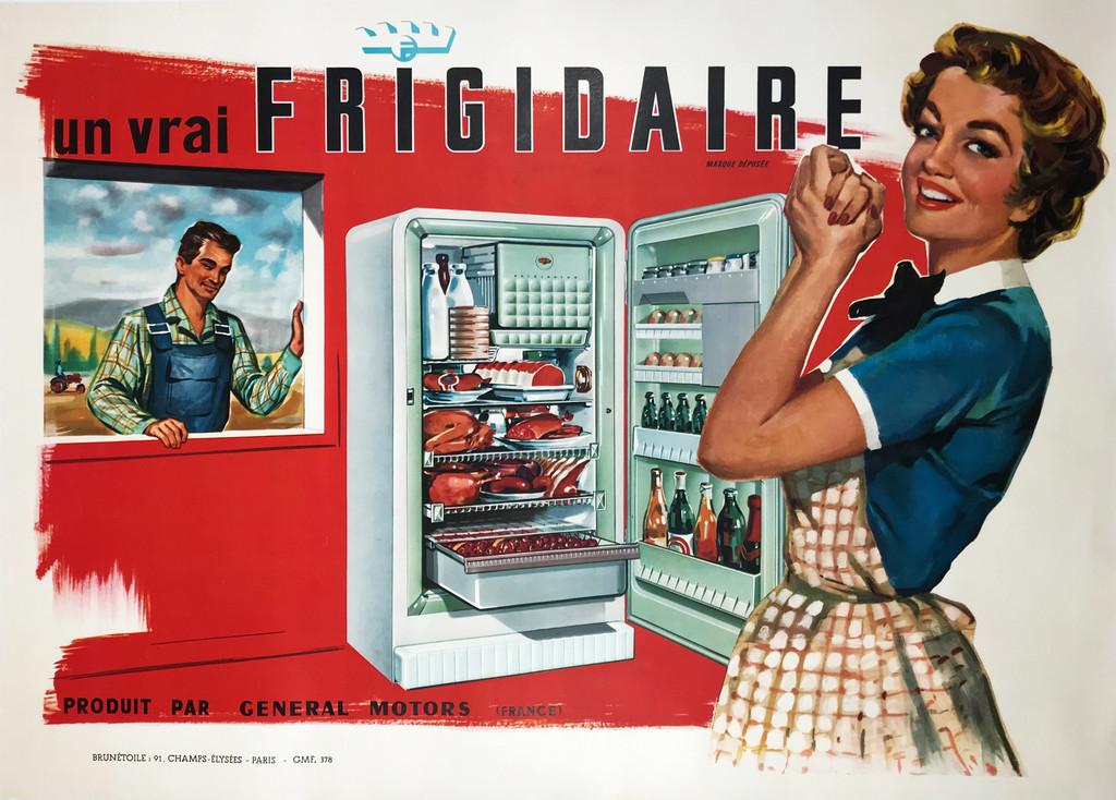 Un Vrai Frigidaire Original 1960 Vintage French Poster Linen Backed