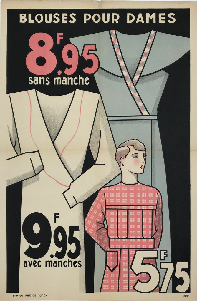 Blouses Pour Dames Original 1935 French Vintage Stone Lithograph Advertisement Poster Linen Backed