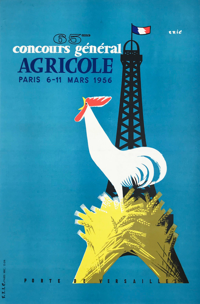 Agricole Concours General 65eme Original 1956 French Vintage Poster by Eric Linen Backed