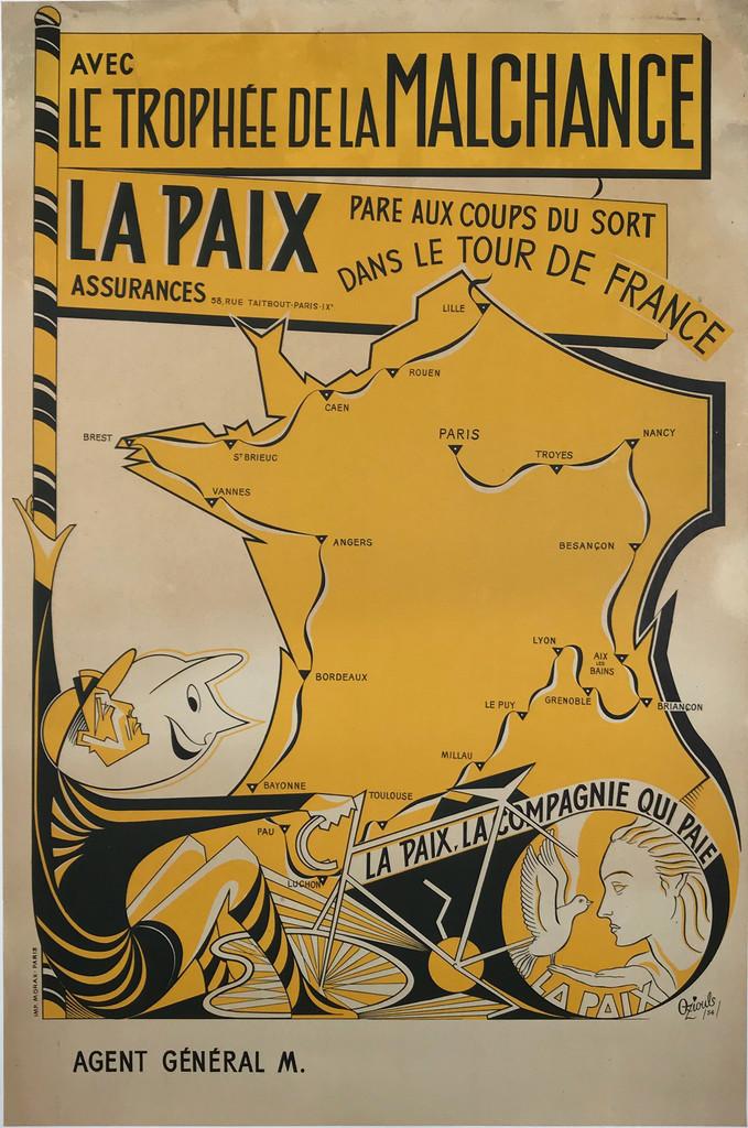 La Paix Tour De France Original 1954 French Vintage Advertisement Poster by Oziouls Linen Backed
