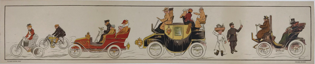 Auto Moto Parade Original 1903 French Decorative Panel Poster by Fernel Linen Backed