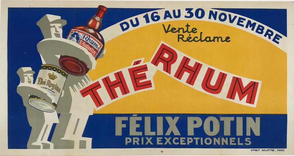 Felix Potin Rhum St Augustine The Regina Original 1930 French Vintage Poster Linen Backed