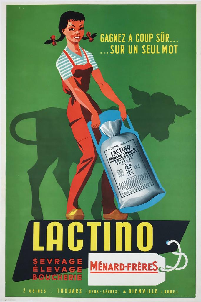 Lactino Sevrage Elevage Boucherie Menard Freres Original 1958 French Vintage Poster Linen Backed