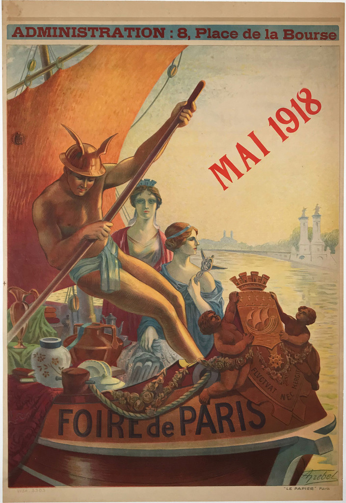 Foire de Paris May 1918 Original Vintage French 1918 Stone Lithograph Advertisement Poster by Alphonse Grebel Linen Backed