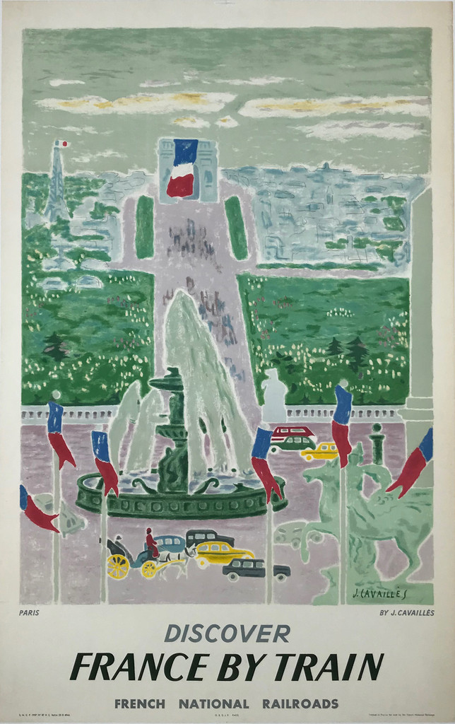 Discover France By Train French National Railroads SNCF Original 1957 Mid Century Travel Poster by J. Cavallies