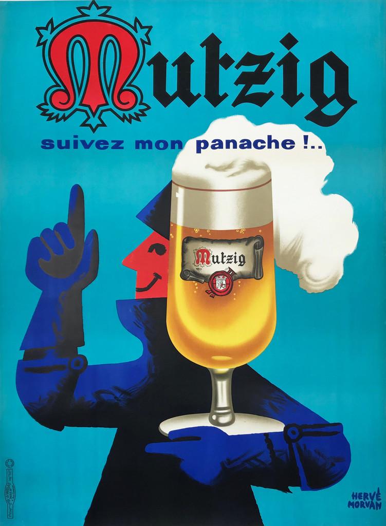 Mutzig Pils Original 1959 Vintage French Beer Poster by Herve Morvan Linen Backed