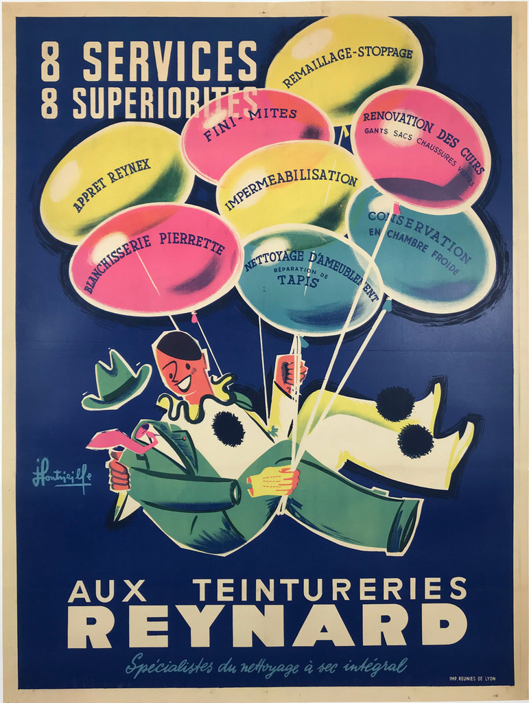 Reynard Aux Teintureries 8 Services 8 Superiorites French 1958 Original Vintage Dry Cleaners Lithograph Poster by J.Fonvieile Linen Backed