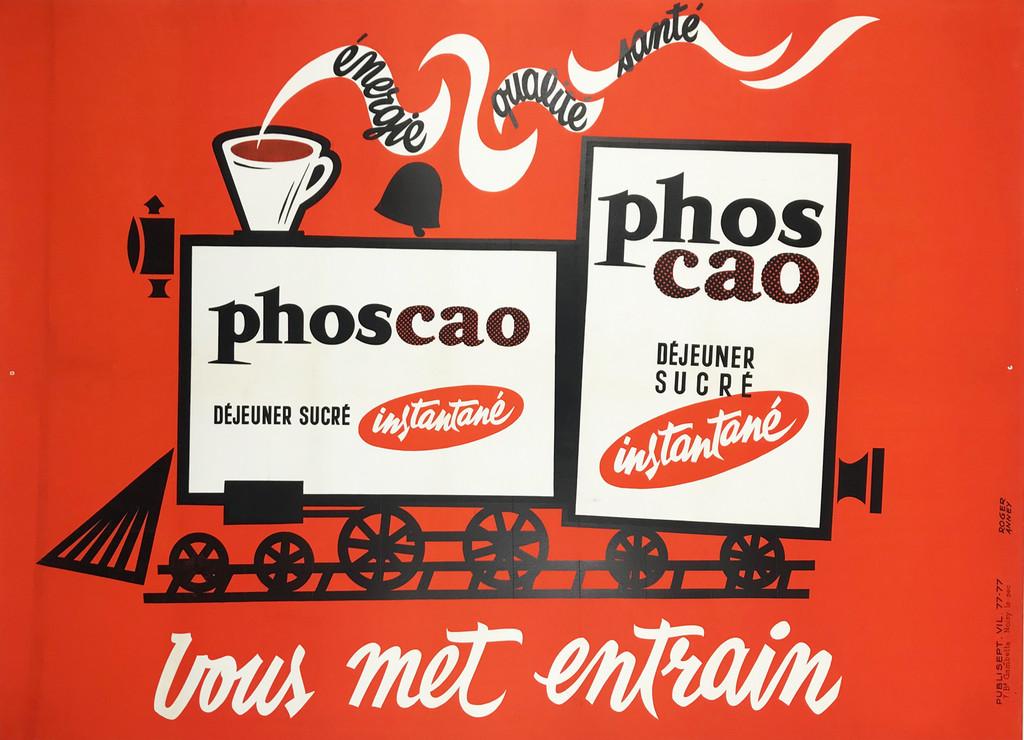 Phoscao Dejeuner Sucre Instantane Original 1960 French Vintage Poster by Roger Anney Linen Backed.