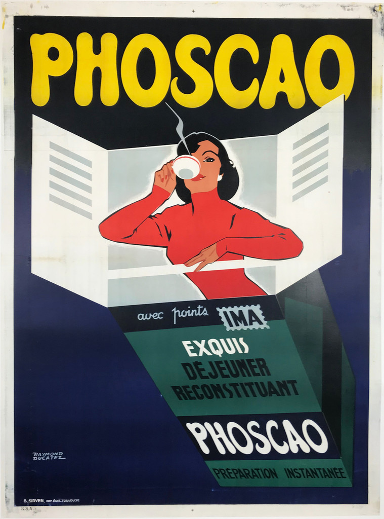 Phoscao Dejeuner Reconstituant Original 1959 French Vintage Lithograph Poster by Raymond Ducatez Linen Backed.