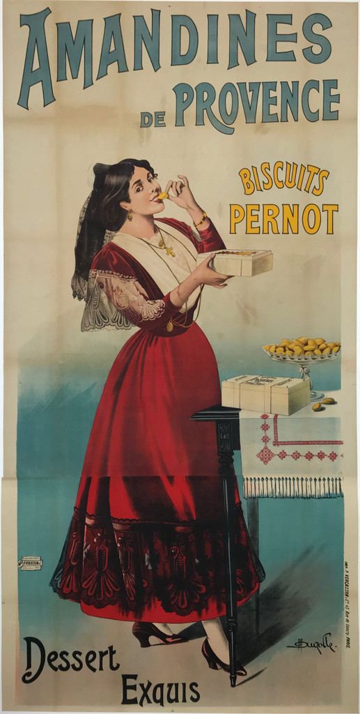 Amandines De Provence Biscuits Pernot Dessert Exquis Original 1905 French Stone Lithograph Poster by Marcellin Auzolle Linen Backed.