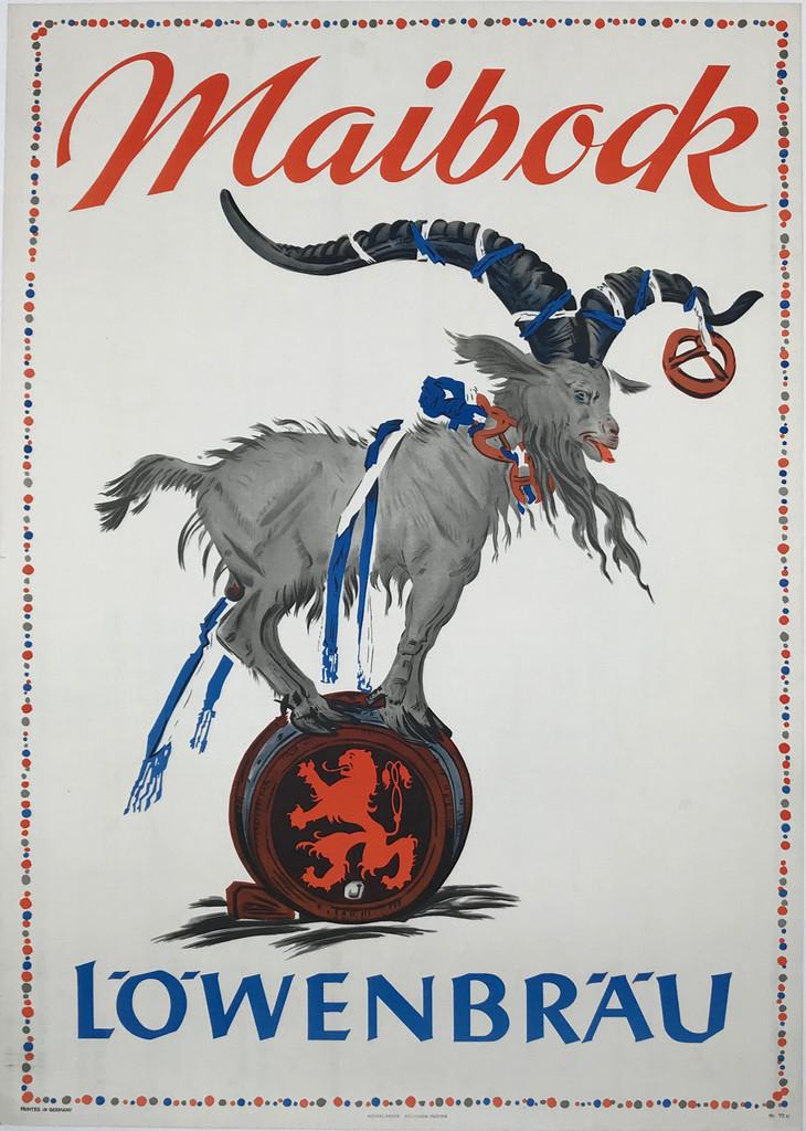 Lowenbrau Maibock Original 1954 Vintage German Beer Advertisement Lithography Poster by Julius Diez Linen Backed.