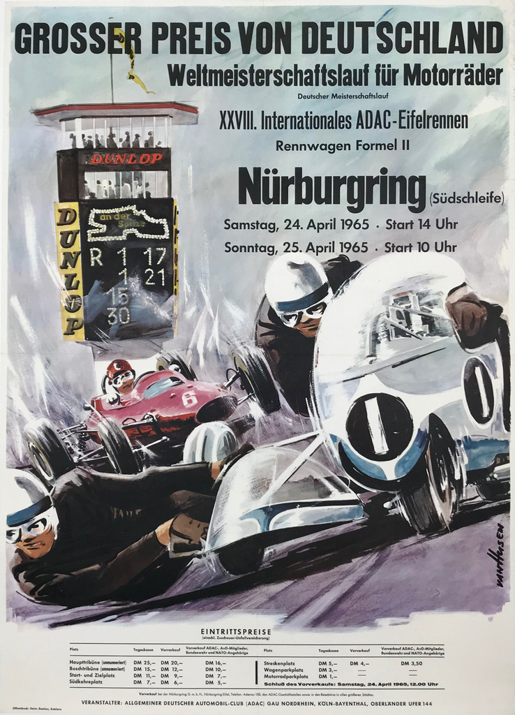GROSSER PREIS VON DEUTSCHLAND Nurburgring Original 1954 Vintage German Race Advertisement Poster Linen Backed.