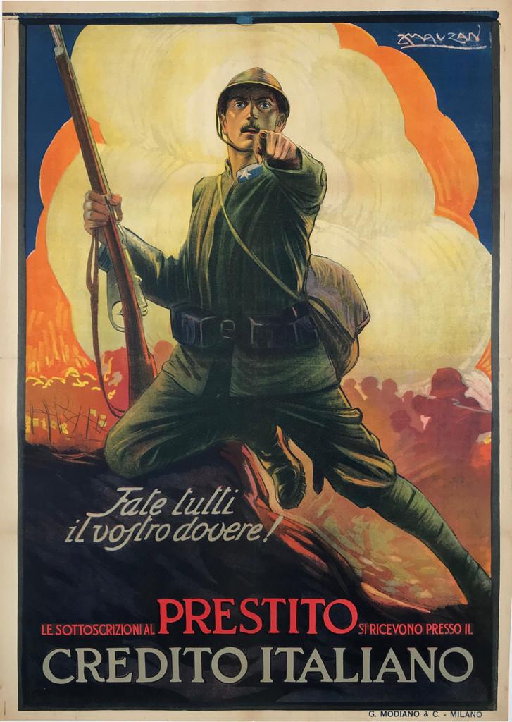 Prestito Credito Italiano Original 1917 Vintage Italian Bank Bond War Poster by Mauzan Linen Backed
