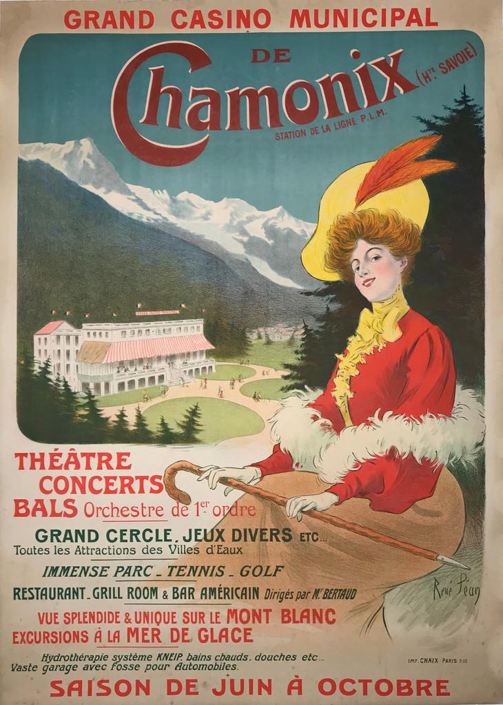 Chamonix Grand Casino Municipal Original 1905 French Vintage Travel Poster by Rene Pean Linen Backed
