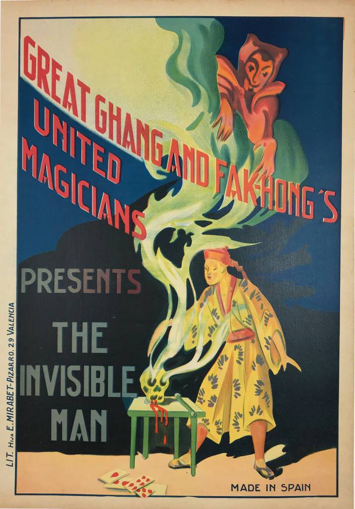 Great Chang And Fak-Hong's United Magicians Presents The Invisible Man Original 1920's Spanish Magic Stone Lithograph Advertisement Vintage Poster Linen Backed.