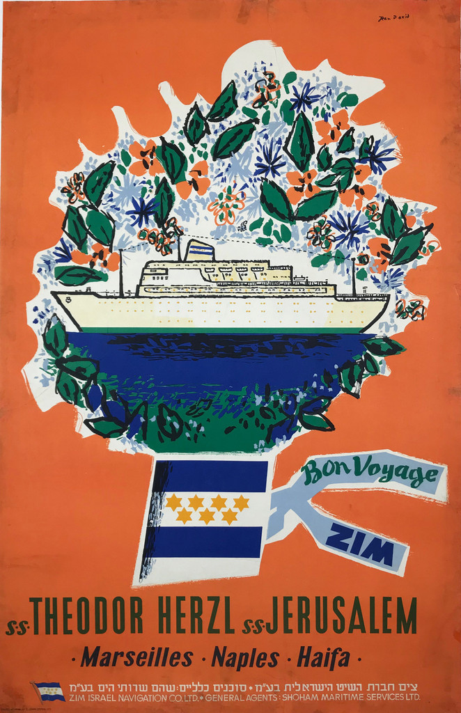SS Jerusalem SS Theodor Herzl Bon Voyage ZIM Original 1965 Vintage Israel Travel Poster by Jean David Linen Backed.