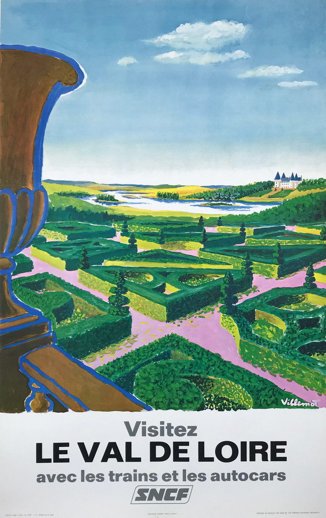 Visitez Le Val De Loire SNCF Trains Original 1967 Vintage  French Travel Poster by Bernard Villemot Linen Backed.