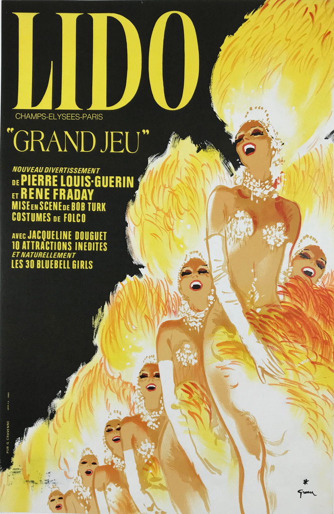 Lido Grand Jeu Original 1982 French Vintage Cabaret Advertisement Poster by Rene Gruau Linen Backed.