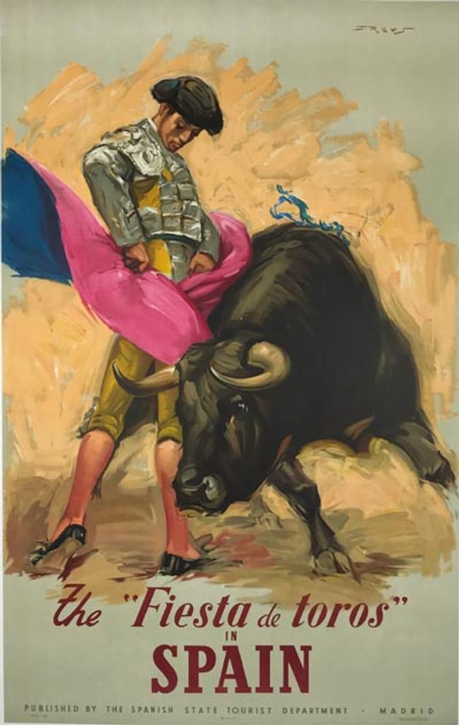 The Fiesta de Toros in Spain  original vintage poster from 1945 by Jose Reus.