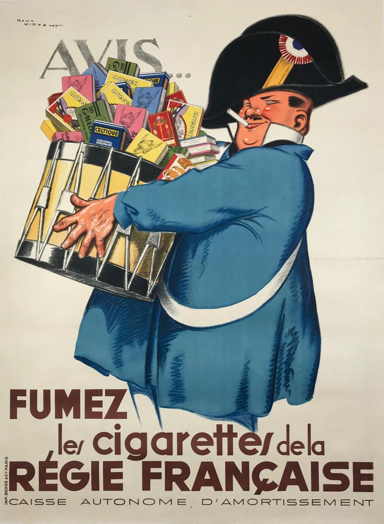 Avis Fumez le Cigarettes de la Regie Francaise Original 1935 French Vintage Advertising Poster by Rene Vincent Linen Backed.