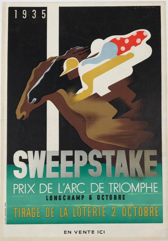 Sweepstake Prix De L'Arc De Triomphe 1935 Original French Vintage Poster by A.M. Cassandre Linen Backed.