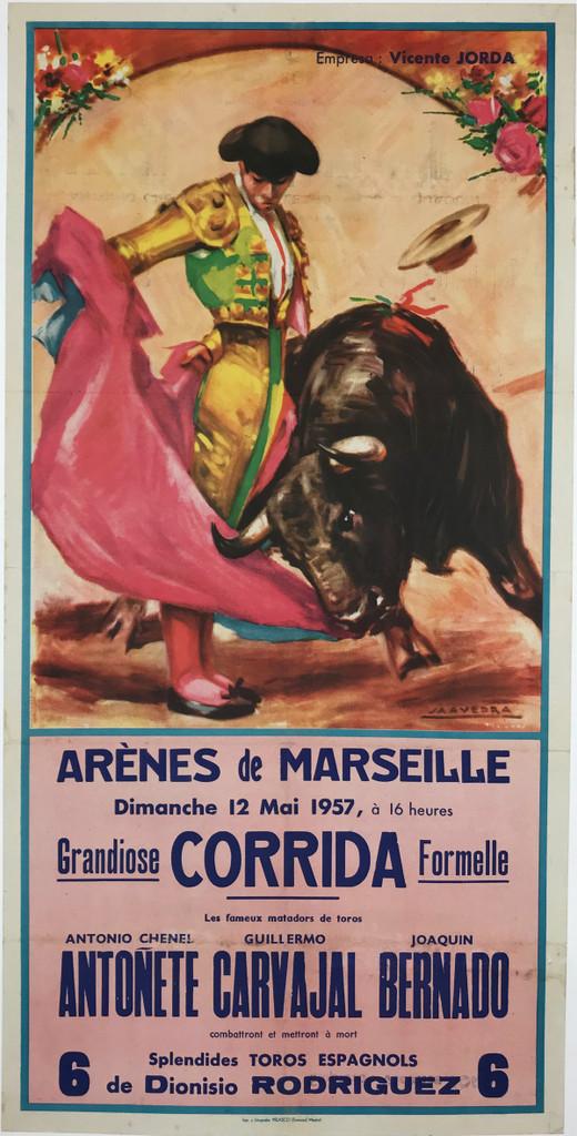 Arenes De Marseille Grandiose Corrida Formelle Original 1957 Spanish Vintage Bullfight Poster Linen Backed