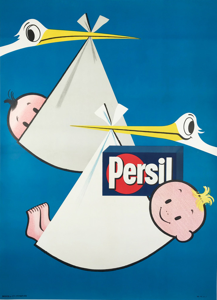 Persil Laundry Detergent  Original 1952 French Vintage Poster Linen Backed. Laundry detergent advertisement that features two stork birds holding up babies and a box of soap on a blue background.