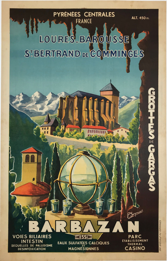 Barbazan Pyrenees Centrales France Original 1930 French Vintage Travel Advertisement by P. Seignouret Linen Backed.