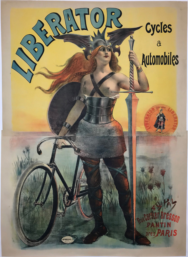 Liberator Cycles and Automobiles (2-Sheet) Original 1896 French Vintage Advertising Poster by Pal. Jean Paleologue