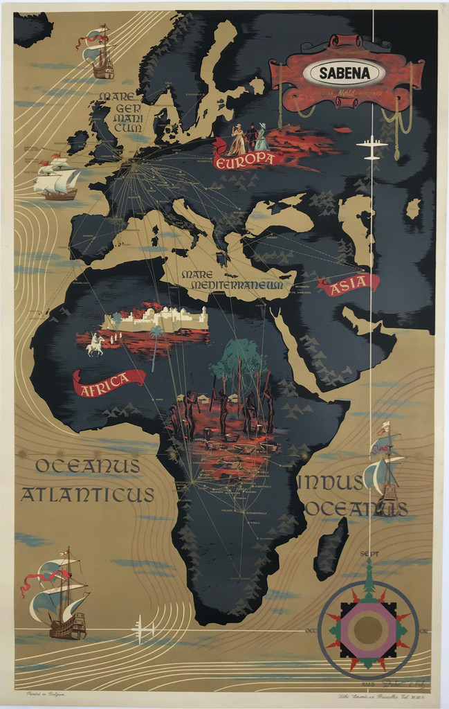 Sabena Belgian Airlines Europe Africa Route Map Original 1950 Vintage Travel Advertisement Antique Poster by Dohet Linen Backed.