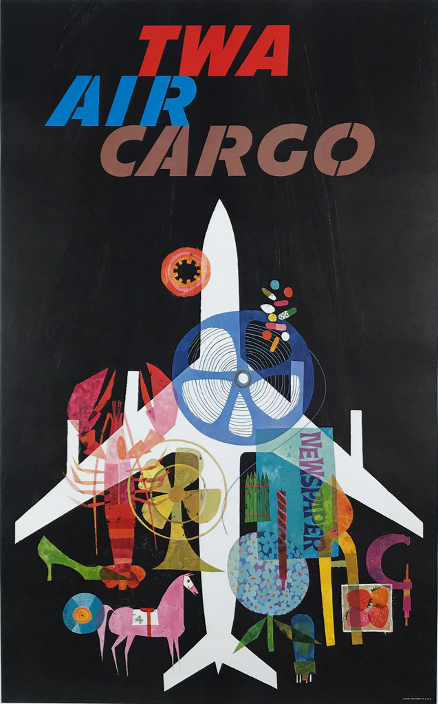 TWA Air Cargo Original 1965 Vintage American Travel Advertisement Poster by David Klein Linen Backed. Airlines And Aviation Advertisement