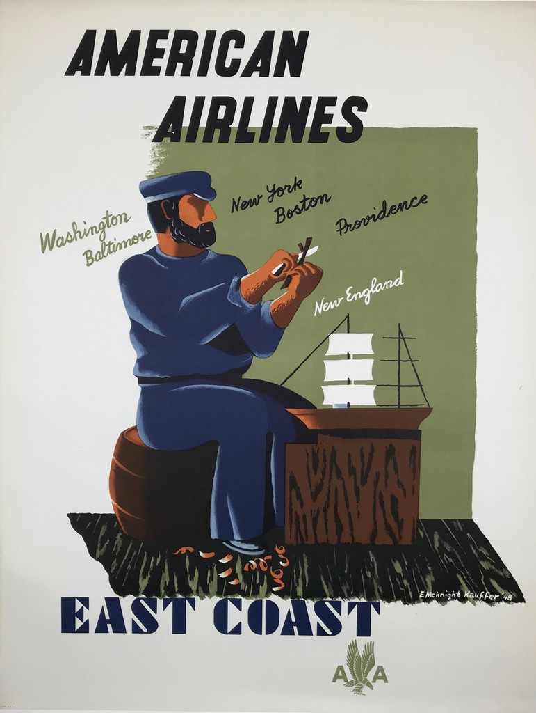 American Airlines East Coast Original 1948 Vintage Travel Poster by E. McKnight Kauffer Linen Backed.
