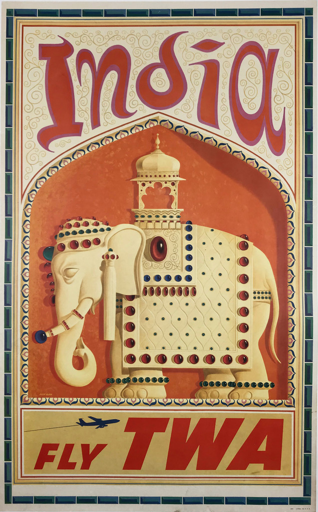 India Fly TWA Airlines Original 1960 Vintage American Travel Poster by David Klein Linen Backed.