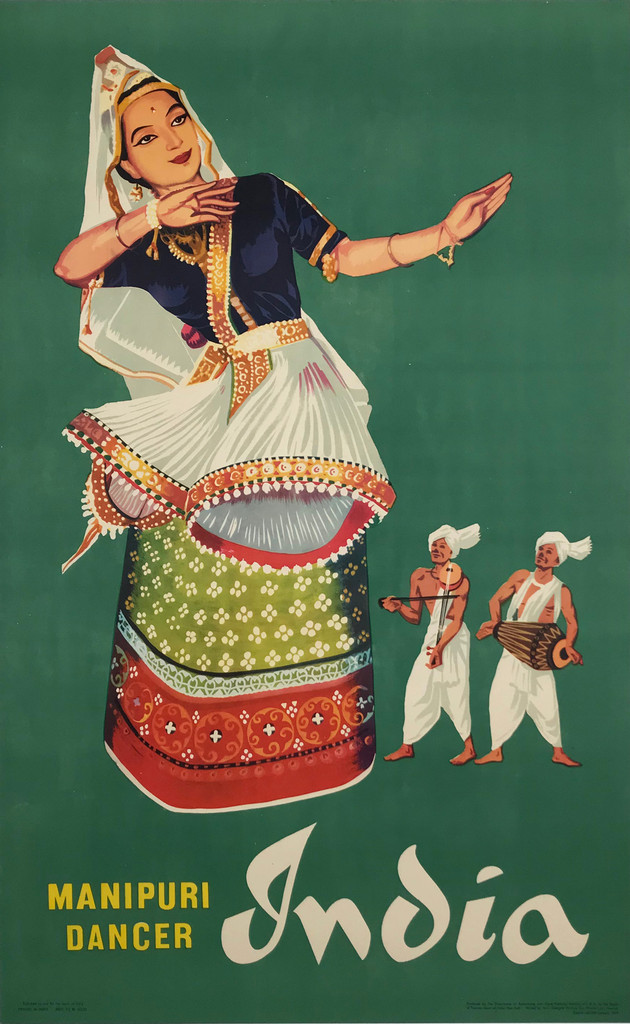 India Manipuri Dancer Original 1959 Vintage Travel Advertisement Poster Printed by Glasgow Printing Co Private Ltd . Indian advertisement for a great tourism promotion.