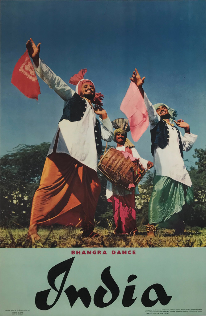 India Original 1959 Vintage India Bhangra Dance Travel Advertisement Poster Printed by Bombay Fine Art & Litho. Works Ltd. Linen Backed. Indian advertisement for a great tourism promotion poster. Original 1960 Vintage Photo Offset Lithograph Travel Poster.
