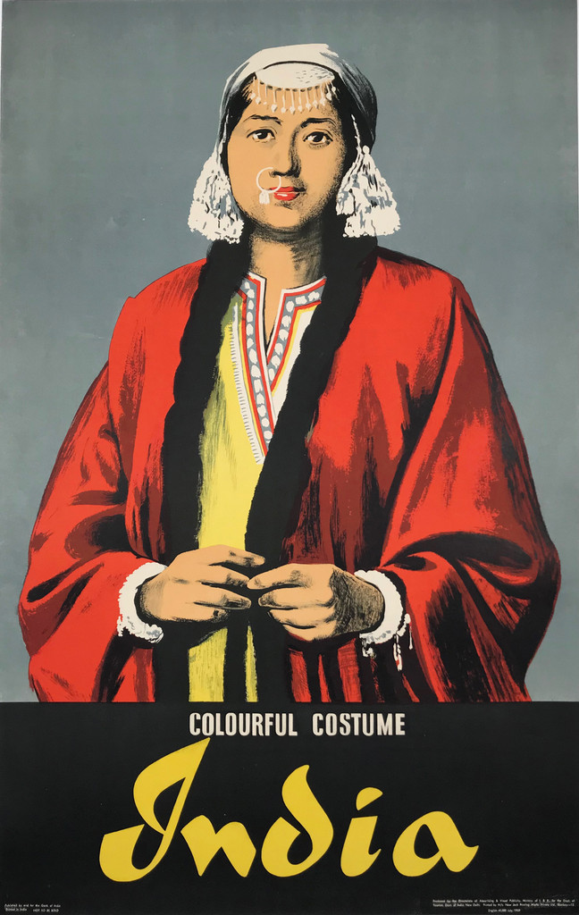 India Colourful Costume Original 1959 Vintage India Travel Advertisement Poster Printed by New Jack Printing Works Bombay Linen Backed. Indian advertisement for a great tourism destination.