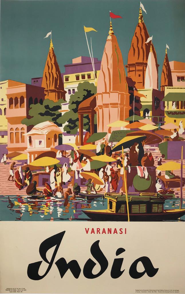 India Varanasi (Banaras) Original 1959 Vintage Travel Advertisement Poster by Sree Saraswaty Ltd. Linen Backed. Indian advertisement for a great tourism destination.