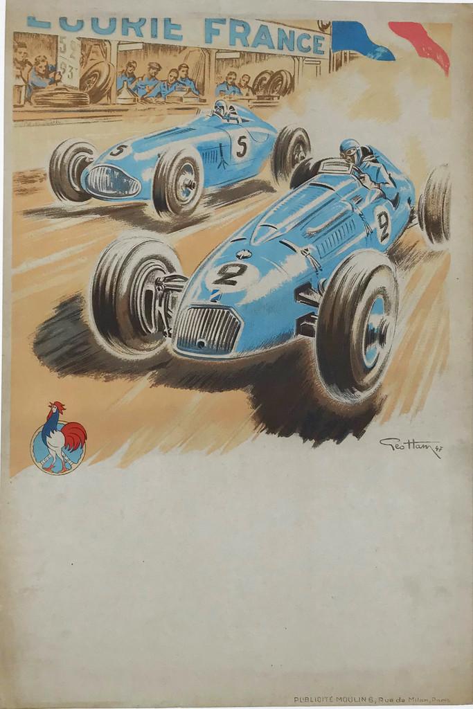 Ecurie France - Talbot et Delahaye en Course Car Race  Original 1947 Vintage French Automotive Advertisement Poster by Geo Ham. Linen Backed.